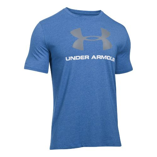 Mens Under Armour Charged Cotton Sportstyle Logo T Short Sleeve Technical Tops - Royal/White M ...