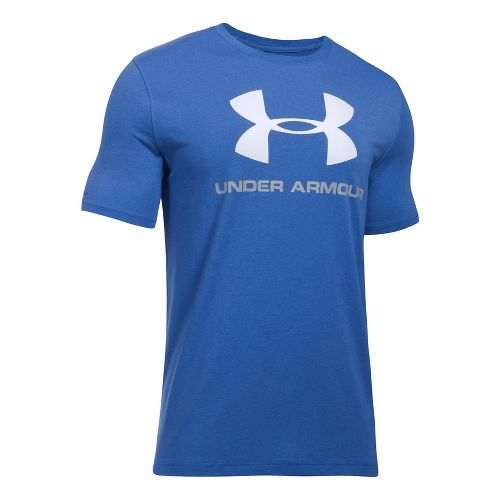 Mens Under Armour Charged Cotton Sportstyle Logo Short Sleeve Technical Tops - Royal/Overcast ...
