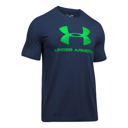 Mens Under Armour Charged Cotton Sportstyle Logo Short Sleeve Technical Tops - Midnight Navy/Lime S