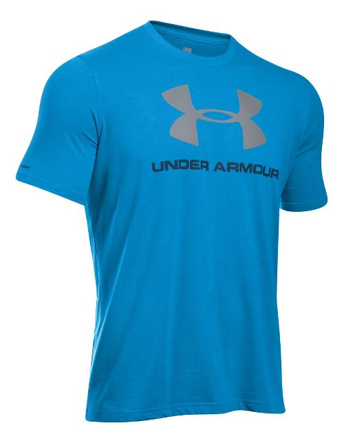Mens Under Armour Charged Cotton Sportstyle Logo Short Sleeve Technical Tops - Black/Tropic ...