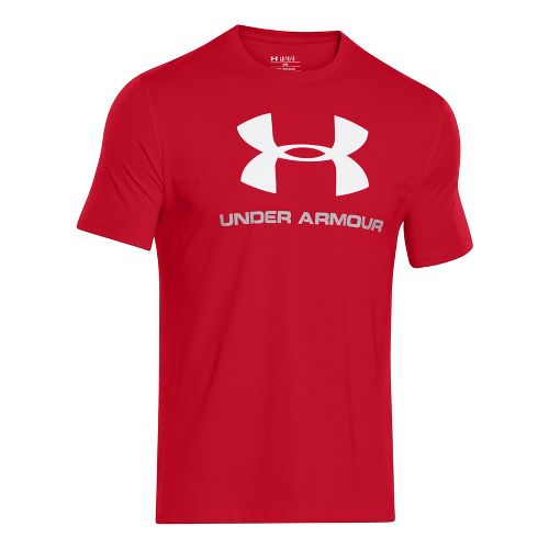 Mens Under Armour Charged Cotton Sportstyle Logo T Short Sleeve Technical Tops - Black/Phoenix ...