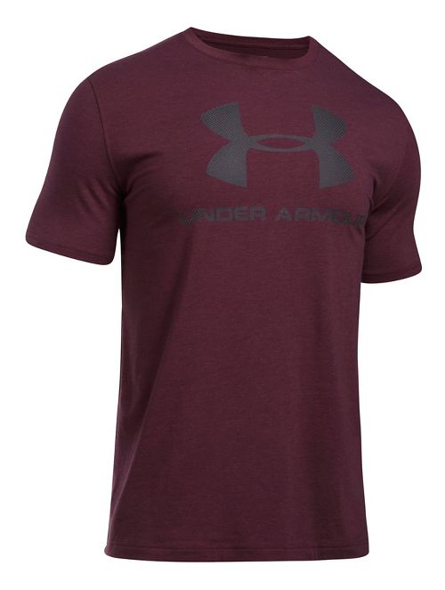 Mens Under Armour Charged Cotton Sportstyle Logo Short Sleeve Technical Tops - Raisin Red ...