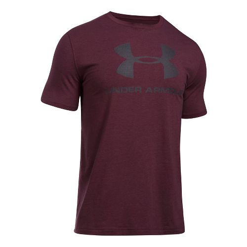 Mens Under Armour Charged Cotton Sportstyle Logo Short Sleeve Technical Tops - Raisin Red Heather L