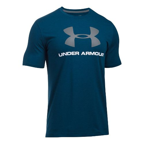 Mens Under Armour Charged Cotton Sportstyle Logo T Short Sleeve Technical Tops - Blackout ...
