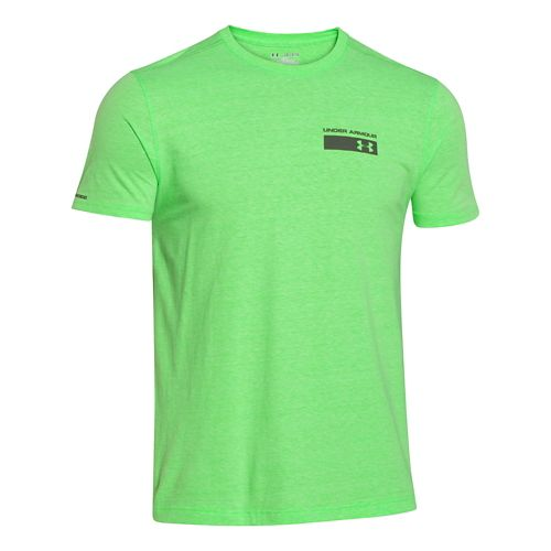 Mens Under Armour Military Issue Tee Short Sleeve Technical Tops - Green Energy M