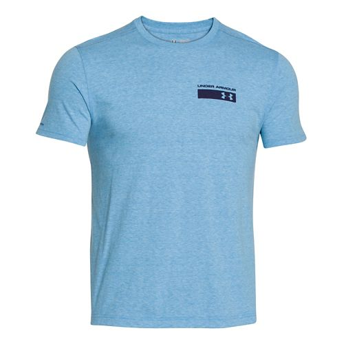Mens Under Armour Military Issue Tee Short Sleeve Technical Tops - Blue Jet S