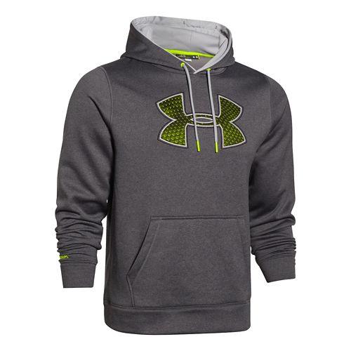 Mens Under Armour Fleece Storm Big Logo Warm Up Hooded Jackets - Carbon Heather/Blue XXL-T ...