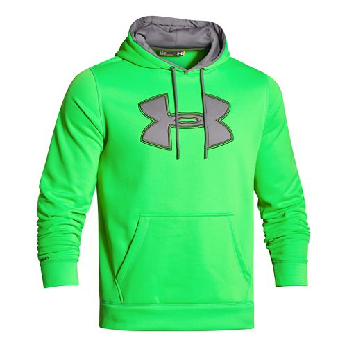 Mens Under Armour Fleece Storm Big Logo Warm Up Hooded Jackets - Green/Graphite 3XL-T