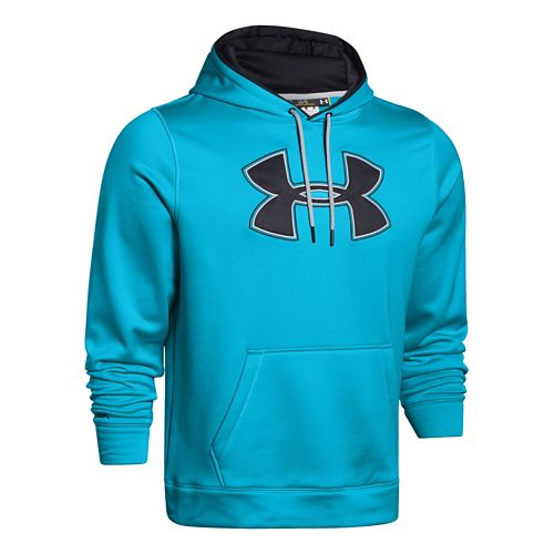 Mens Under Armour Fleece Storm Big Logo Warm Up Hooded Jackets - Island Blues/Black 3XL-R ...