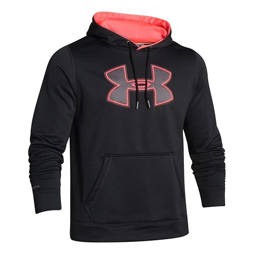 Mens Under Armour Fleece Storm Big Logo Warm Up Hooded Jackets - Red/Graphite XL-R