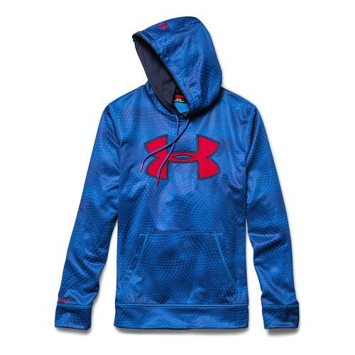 Mens Under Armour Fleece Storm Big Logo Rattle Warm Up Hooded Jackets - Blue Jet/Navy ...