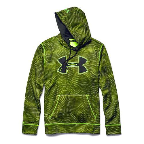 Mens Under Armour Fleece Storm Big Logo Rattle Warm Up Hooded Jackets - High Vis ...