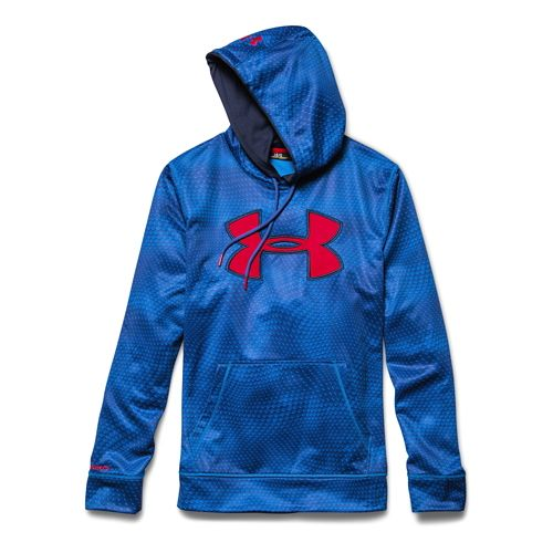 Mens Under Armour Fleece Storm Big Logo Rattle Warm Up Hooded Jackets - Blue Jet/Navy ...