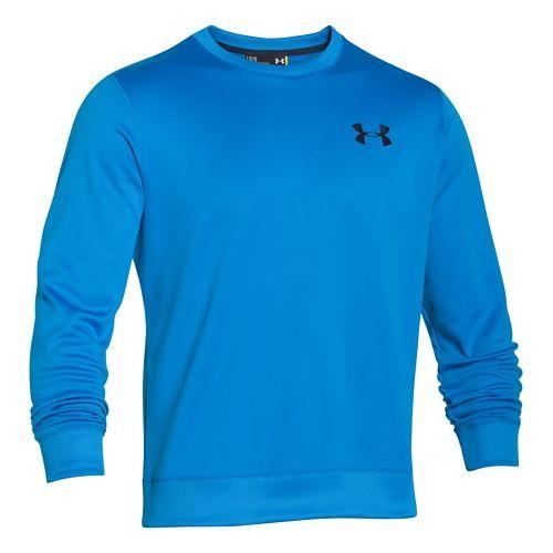 Mens Under Armour Fleece Crew Long Sleeve Sweater Technical Tops - Blue Jet L