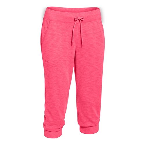 Womens Under Armour Kaleidalogo Solid Capri Pants - Pink Shock S