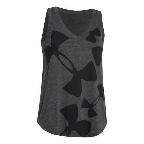 Womens Under Armour Kaleidalogo Scattered Tank Technical Tops - Carbon Heather XL