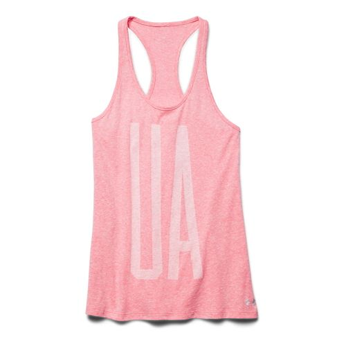 Womens Under Armour Charged Cotton Big UA Tank Technical Tops - Pink Shock M