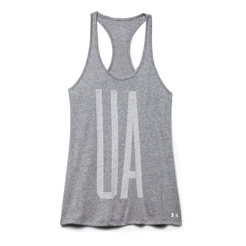 Womens Under Armour Charged Cotton Big UA Tank Technical Tops - Carbon Heather L