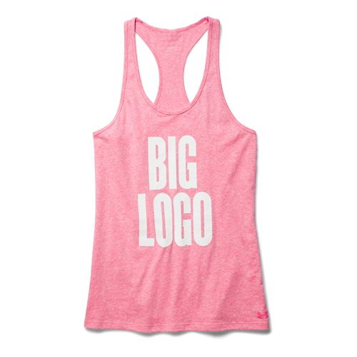 Womens Under Armour Charged Cotton Big Logo Tank Technical Tops - Pink Shock XL