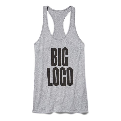Womens Under Armour Charged Cotton Big Logo Tank Technical Tops - Carbon Heather XL