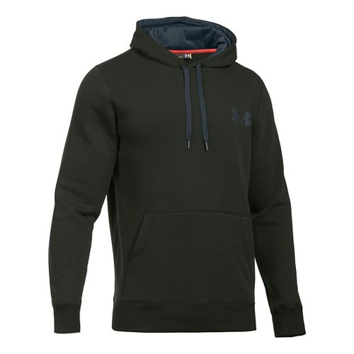 Mens Under Armour Rival Cotton Hoodie & Sweatshirts Technical Tops - Army Green/Grey LT