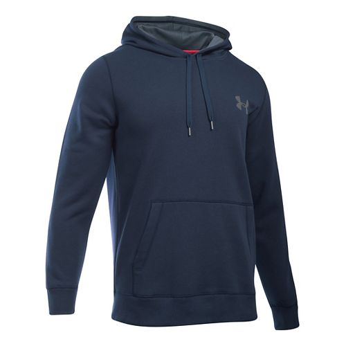 Mens Under Armour Rival Cotton Hoodie & Sweatshirts Technical Tops - Midnight Navy/Grey SR
