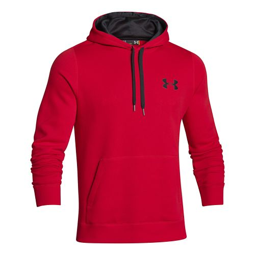 Mens Under Armour Rival Cotton Warm Up Hooded Jackets - Red/Black S-T
