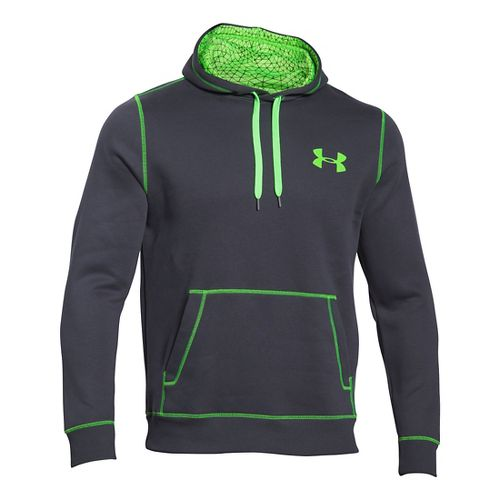 Mens Under Armour Rival Cotton Warm Up Hooded Jackets - Green/Graphite S-T