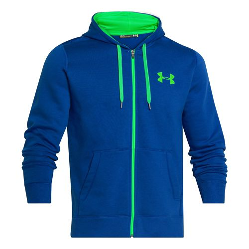 Mens Under Armour Rival Cotton Full Zip Warm Up Unhooded Jackets - Royal/Green Energy L-T ...