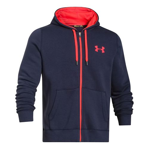 Mens Under Armour Rival Cotton Full Zip Warm Up Unhooded Jackets - Navy/Bolt Orange M-T ...