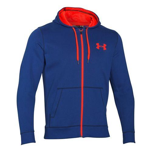 Mens Under Armour Rival Cotton Full Zip Hoodie & Sweatshirts Technical Tops - Cobalt/Orange L-T ...