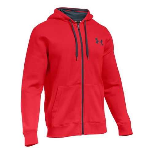 Mens Under Armour Rival Cotton Full Zip Hoodie & Sweatshirts Technical Tops - Red/Stealth Grey ...
