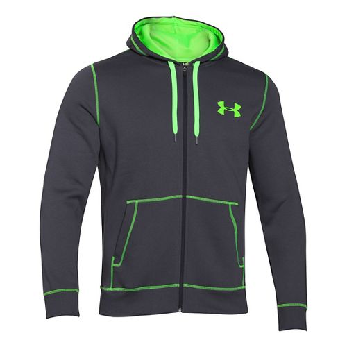 Mens Under Armour Rival Cotton Full Zip Warm Up Unhooded Jackets - Sunbleached/Graphite M-R