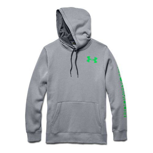 Mens Under Armour Rival Cotton Graphic Warm Up Hooded Jackets - Steel/Graphite XL