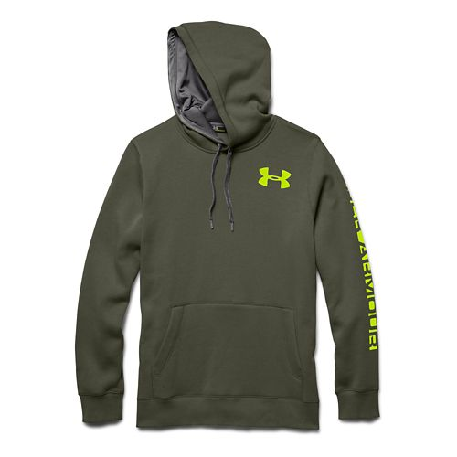 Mens Under Armour Rival Cotton Graphic Warm Up Hooded Jackets - Rough/Graphite L