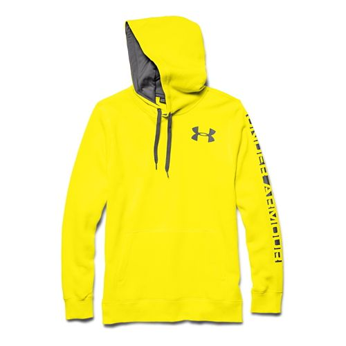 Mens Under Armour Rival Cotton Graphic Warm Up Hooded Jackets - Sunbleached/Graphite XXL