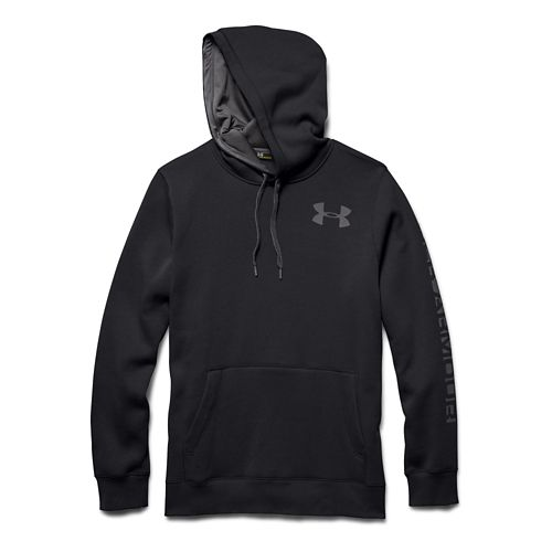 Mens Under Armour Rival Cotton Graphic Warm Up Hooded Jackets - Black/Graphite L