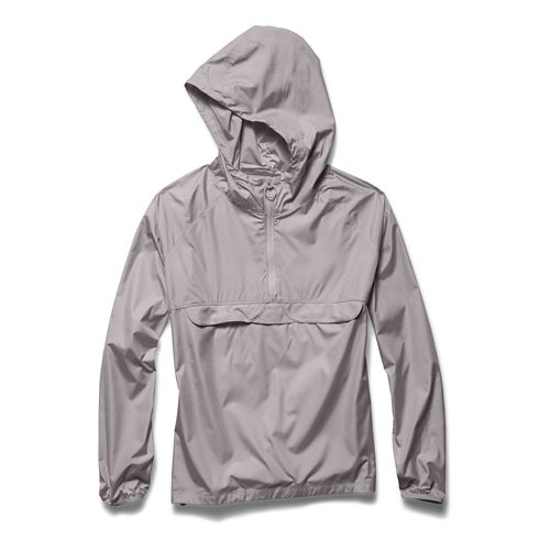 Womens Under Armour Storm PopOver Warm Up Hooded Jackets - Moon Mist XL