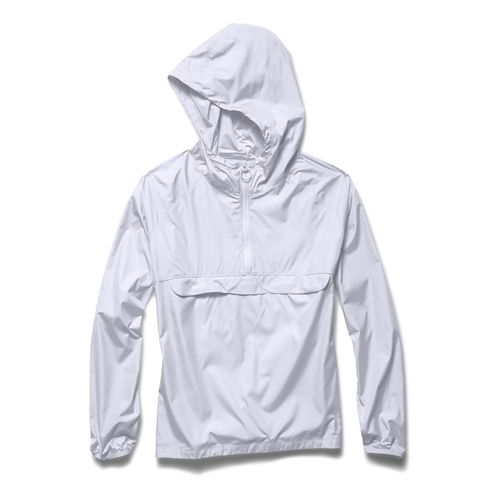 Womens Under Armour Storm PopOver Warm Up Hooded Jackets - White/White XS