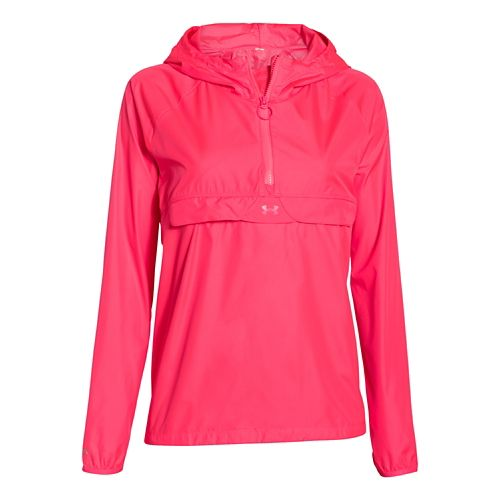 Womens Under Armour Storm PopOver Warm Up Hooded Jackets - Pink Shock/Pink Shock M