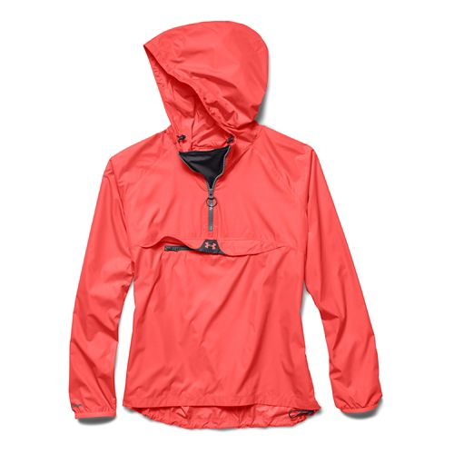 Womens Under Armour Storm PopOver Warm Up Hooded Jackets - After Burn/Gray M