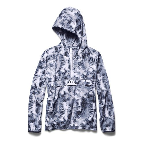 Womens Under Armour Storm PopOver Printed Warm Up Hooded Jackets - Faded Ink/White XL