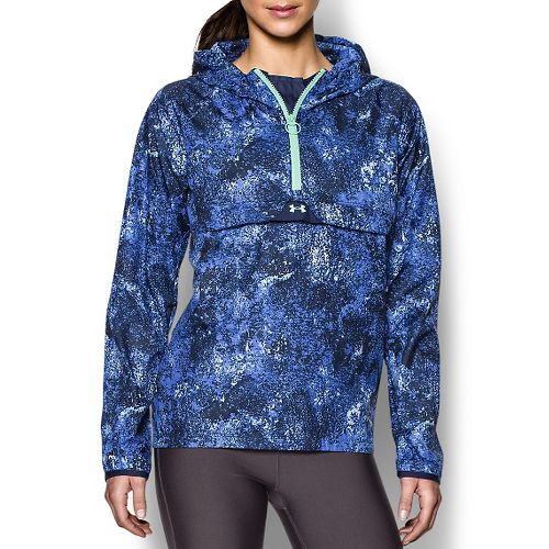 Womens Under Armour Storm PopOver Printed Warm Up Hooded Jackets - Academy/Picasso Blue M