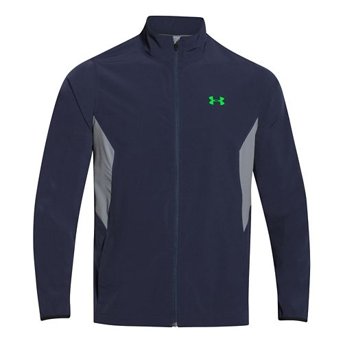 Mens Under Armour Pulse 2.0 Jacket Warm Up Unhooded Jackets - Midnight Navy/Steel 3X
