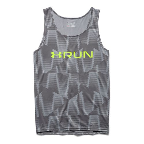 Mens Under Armour Run Printed Singlet Tank Technical Tops - Steel M