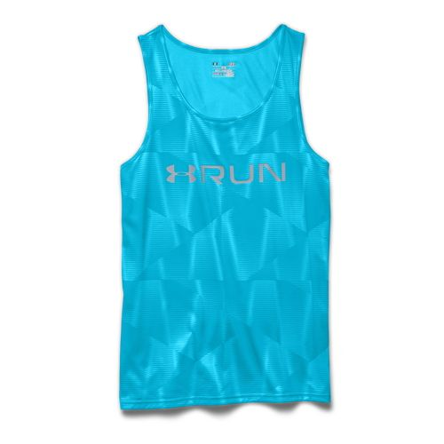 Mens Under Armour Run Printed Singlet Tank Technical Tops - Island Blues XXL