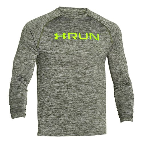 Mens Under Armour Tech Run Twist Tee Long Sleeve No Zip Technical Tops - Rifle ...