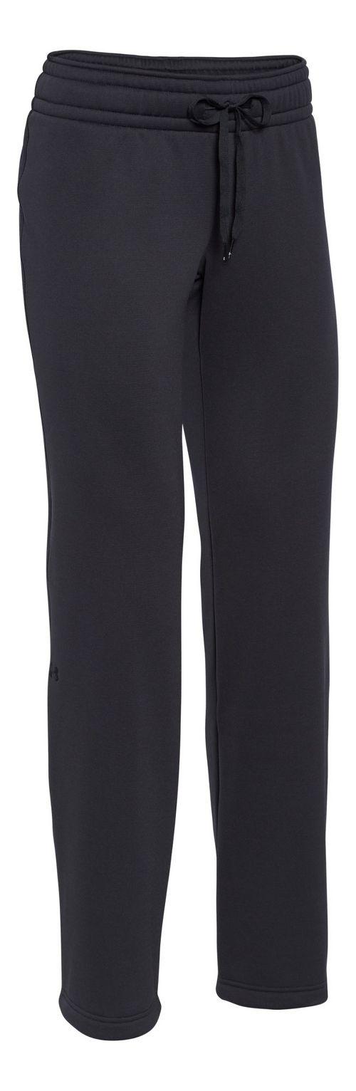 Womens Under Armour Fleece Full Length Pants - Black/Black XL