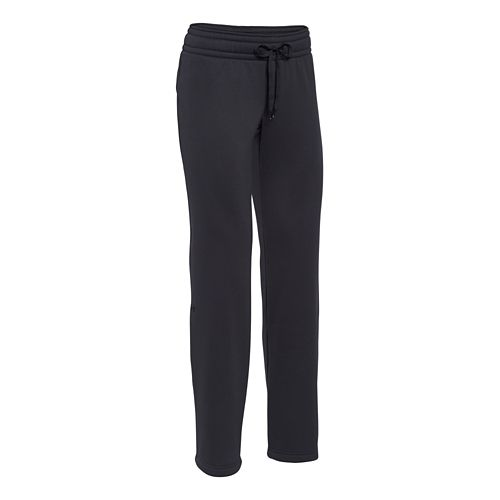 Womens Under Armour Fleece Full Length Pants - Black/Black S