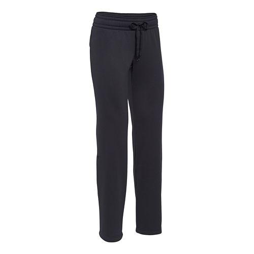 Womens Under Armour Fleece Full Length Pants - Black/Black XS